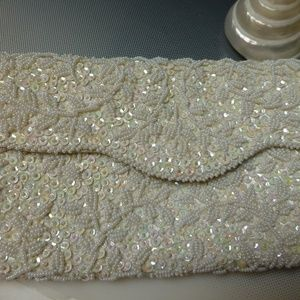ENTIRE BAG WHITE BEADS SEQUINS 9''X5''